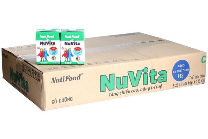 Bộ 12 lốc 4 hộp Sữa tiệt trùng NuVita NutiFood có đường 110ml