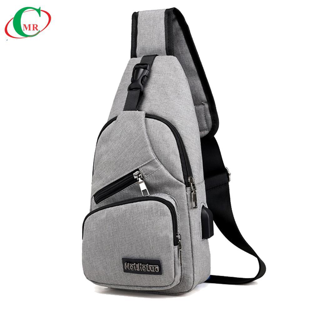 (chọn màu khi đặt hàng) Túi đeo chéo nam cao cấp tích hợp cổng sạc USB ngoài MMB012