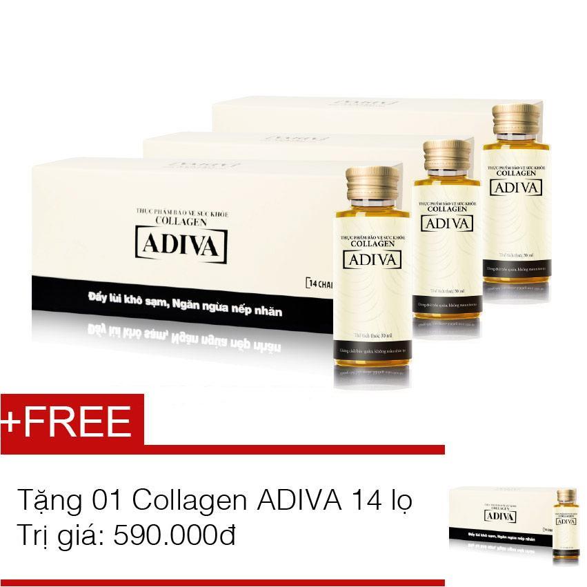 Bộ 3 dưỡng chất uống làm đẹp ADIVA Collagen hộp 14 chai x 30ml + tặng 1 hộp cùng loại