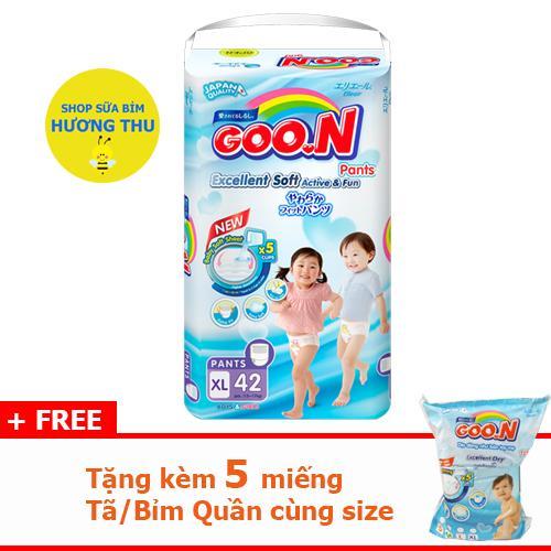 Tã/Bỉm Quần Goon Slim Size XL 42 miếng (dành cho bé 12 - 17 kg), tặng kèm 5 miếng cùng size