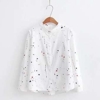 เสื้อเชิ้ตชั้นในลายกราฟฟิตี้ของผู้หญิงแบบหลวมๆ สีขาว/สีน้ำเงิน (สีขาว)