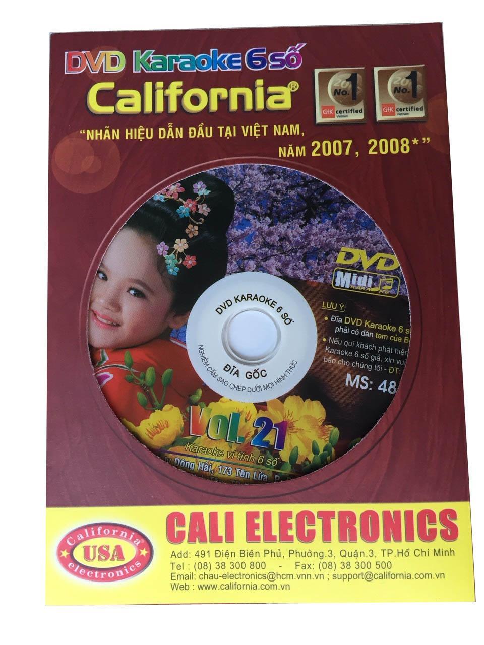 Đĩa DVD Karaoke 6 số California mới nhất Vol 21 - MS 48 (Mã số 48, hình 1 đứa bé Nhật) + List nhạc Vol 21(Nâu)