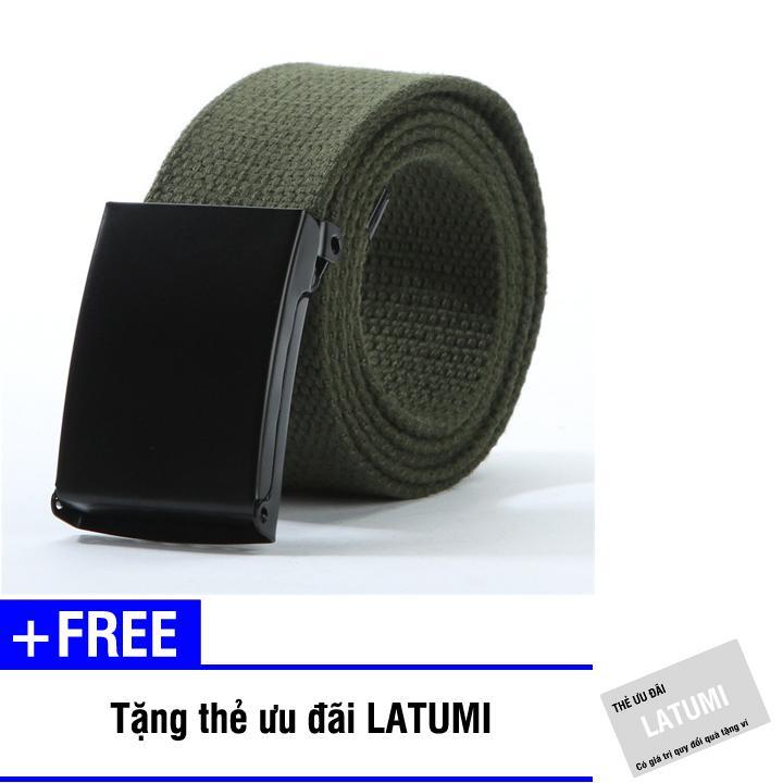 Thắt lưng vải bố khóa bằng kim loại Latumi S2121 + Tặng kèm thẻ ưu đãi Latumi