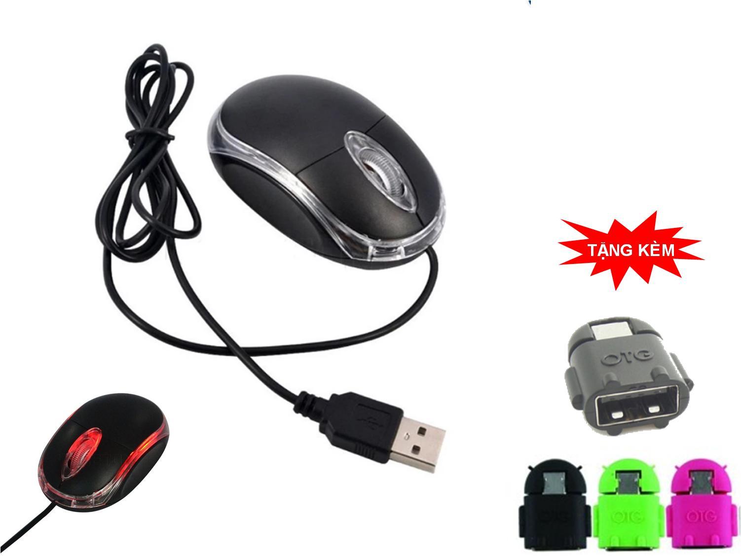 Chuột quang có dây, cổng USB với đèn Led phát sáng khi di chuột + Tặng OTG