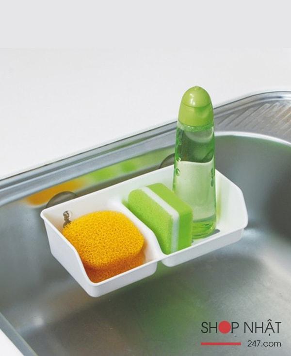 Giá để nước rửa bát 2 ngăn cao cấp (Trắng) hàng nhập khẩu Nhật Bản