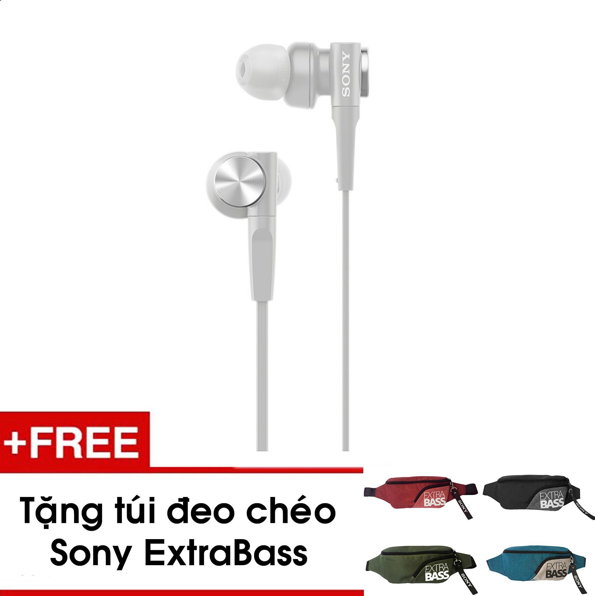 Tai nghe Sony In-ear EXTRA BASS MDR-XB55AP - Màu trắng - Chính hãng - Tặng 01 túi đeo chéo Extrabass (Màu ngẫu nhiên)