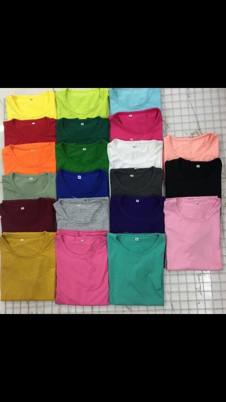 áo thun trơn chất vải thun gân có nhiều màu ( giao màu ngẫu nhiên)