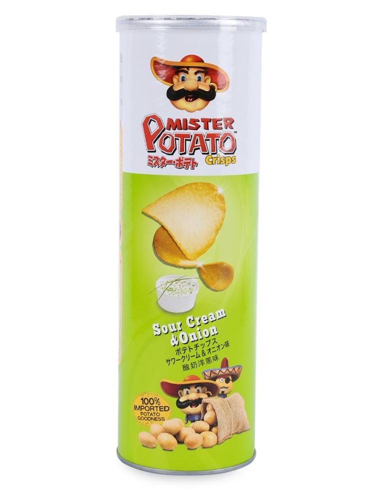 Bánh Snack Khoai Tây Chiên Mister Potato Crisps Cream & Onion Hũ 160G