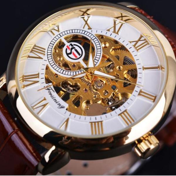 Đồng hồ cơ nam Forsining Handwinding H099M DÂY DA lộ máy (M 5 màu)