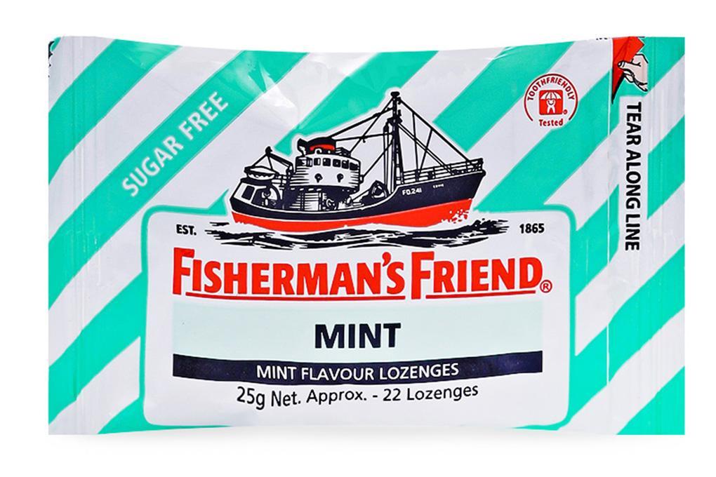 Kẹo Cay Con Tàu Fisherman Friend Vị Bạc Hà Gói 25g x 22 viên