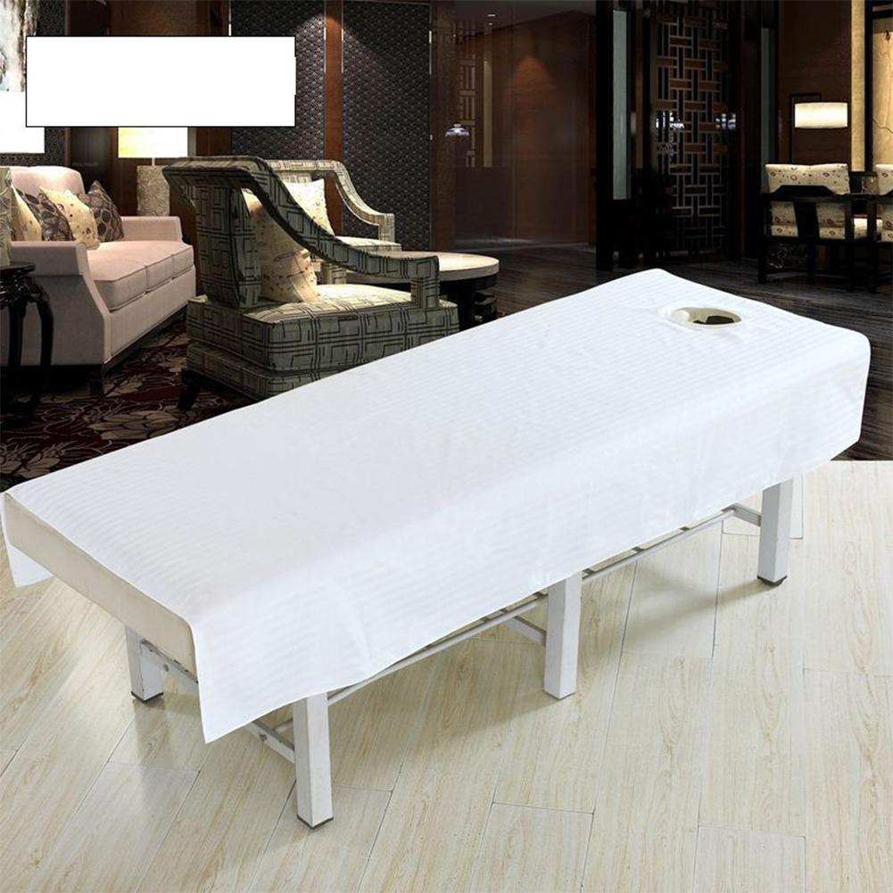 ZH Cotton Fashion Beauty Salon Body Spa Massage Table Cloth Bed Cover Sheet with Face Hole Pure Color 80 * 190cm White