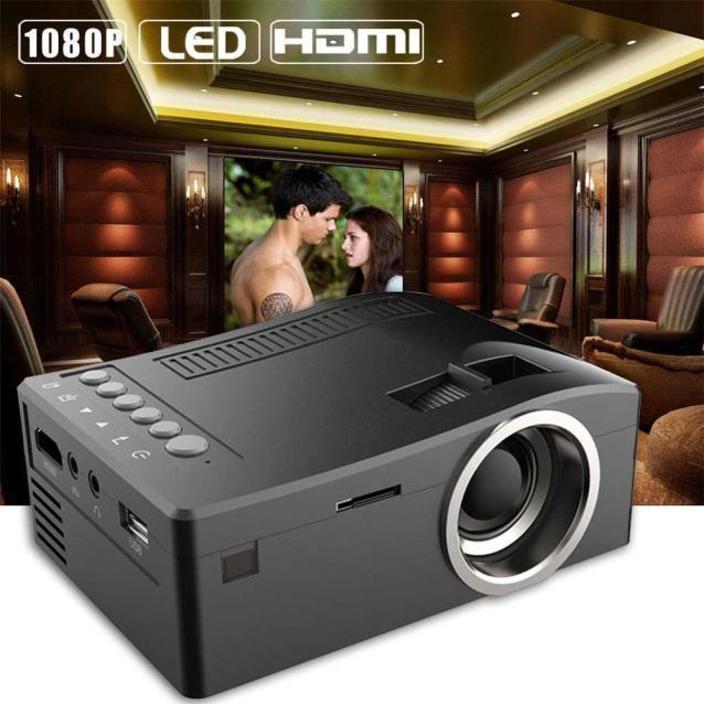 JY 1080 P HD LED Nhà MulitMedia Sân Khấu Điện Ảnh USB TV VGA SD HDMI Máy Chiếu Mini BK