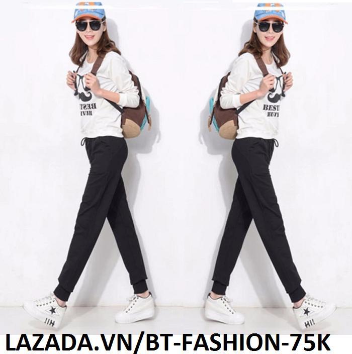 Quần Dài Nữ Thun Phom Rộng Jogger Thể Thao Thời Trang Hàn Quốc - BT Fashion (Trơn - 01)