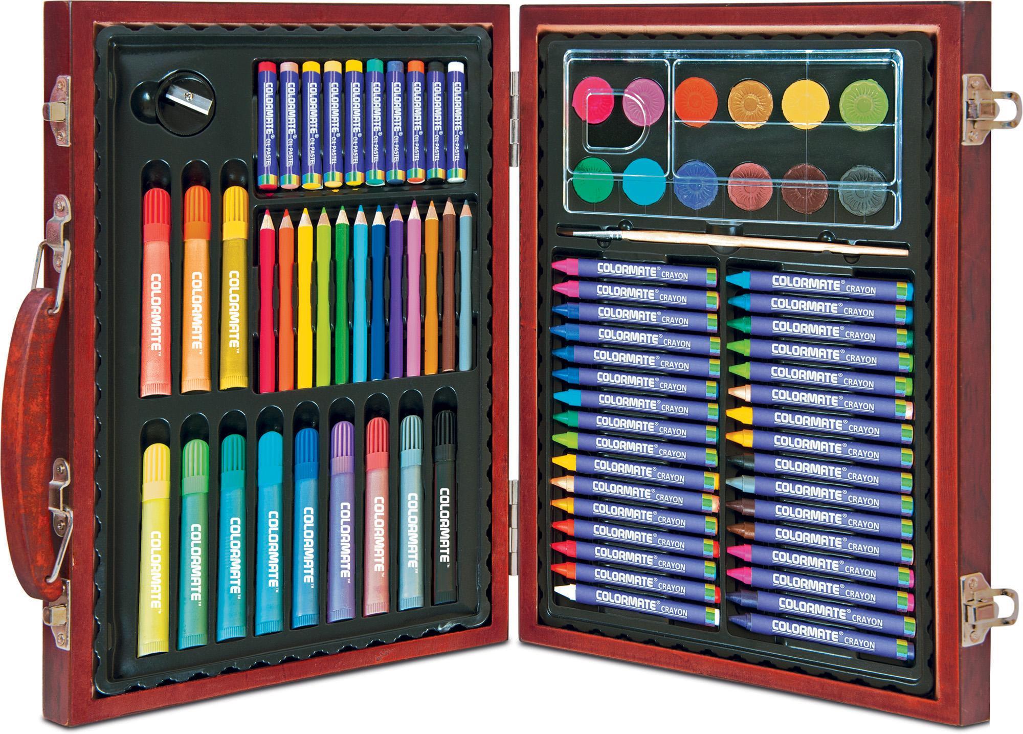 Bộ màu vẽ đa năng hộp gỗ Colormate MS-82W
