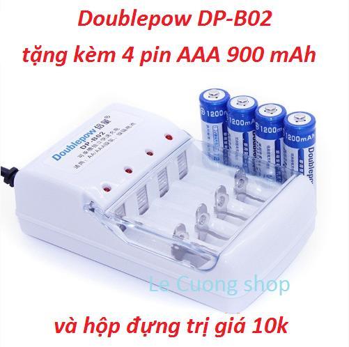 Combo bộ sạc pin đa năng Doublepow DP-B02 và 4 pin tiểu sạc  AAA 900mAh tặng hộp đựng