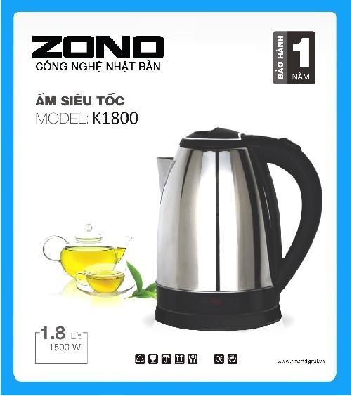 Ấm đun siêu tốc ZONO K-1800 Inox (1,8 lít) - HÃNG PHÂN PHỐI CHÍNH THỨC