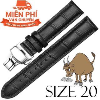 Dây đồng hồ da bò cao cấp SIZE 20mm (đen) kèm khóa bướm thép không gỉ 316L (bạc) thumbnail
