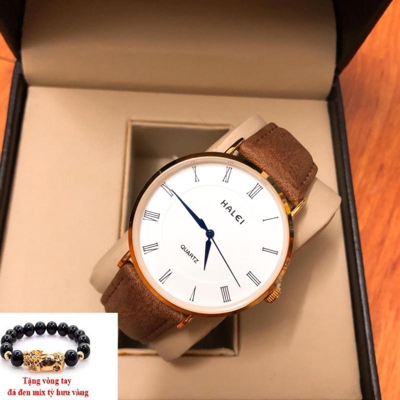 Đồng hồ nam dây da Halei thời thượng TẶNG 1 vòng  may mắn (dây nâu mặt trắng)