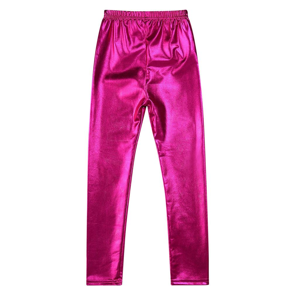 87dcb2669 CHILD Girls Gold Metal Color Tight Leggings Waterproof Windproof  Stain-proof Ninth Pants Trousers Kid Love Baby Clothing