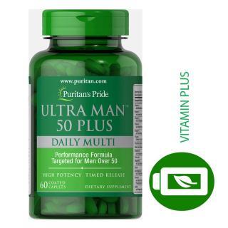 Dinh dưỡng tăng cường sức khỏe cho nam giới trên 50 tuổi phòng chống các bệnh tim mạch, ung thư, tiểu đường hay suy giảm khả năng tình dục do sức khỏe suy giảm, Vitamin Mỹ Puritan s Pride Ultra Man 50 Plus Daily Multi 60 viên thumbnail