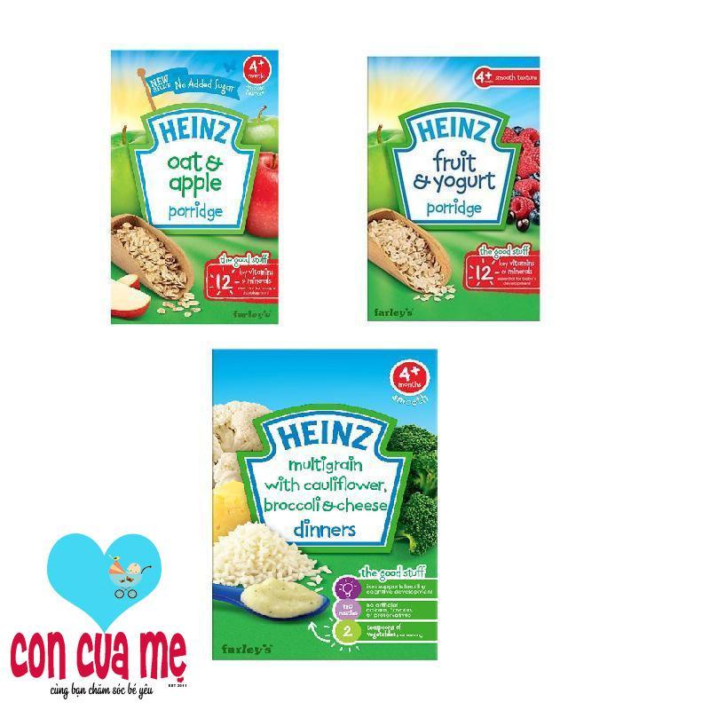 Bộ 1 hộp bột ăn dặm vị súp lơ bông cải phô mai + bột ăn dặm vị sữa chua trái cây + bột ăn dặm vị ngũ cốc yến mạch táo Heinz