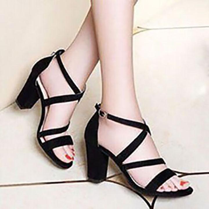 [ẢNH THẬT] Giày cao gót sandal 7 phân quai mảnh chéo gót SD02