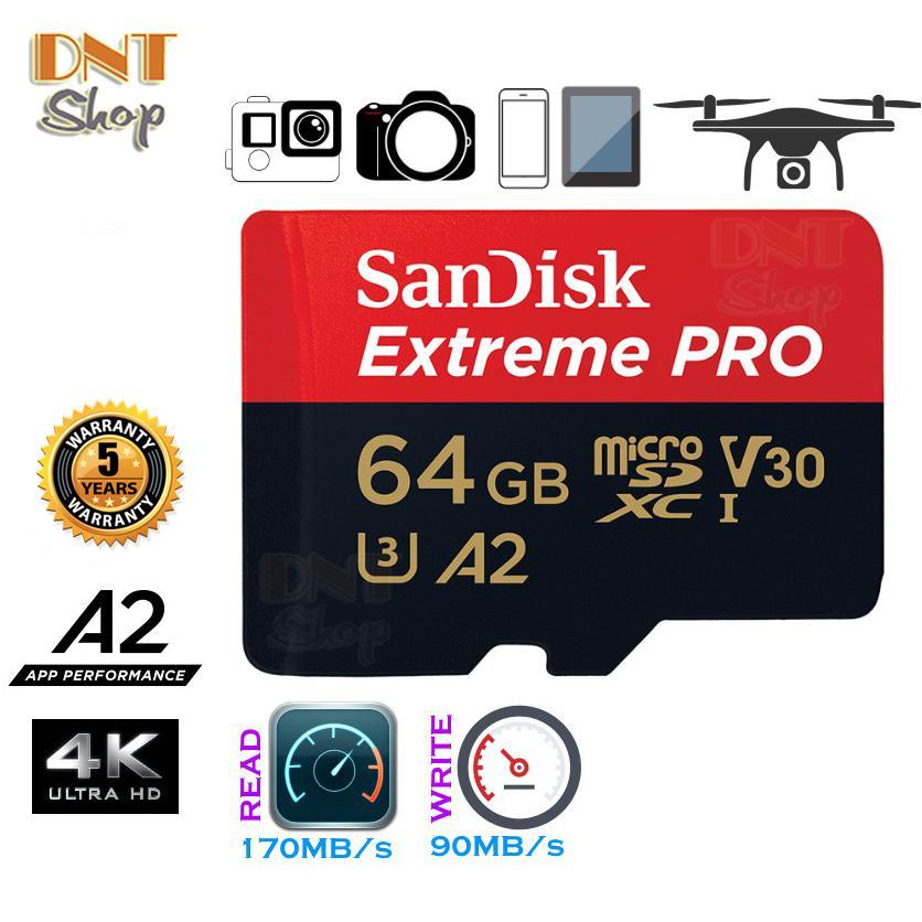 Giá Thẻ Nhớ Microsdxc sandi Extreme Pro A2 - 64Gb V30 U3 Class 10 Uhs-I 170Mb/S (Sdsqxcy-064G-Gn6ma)