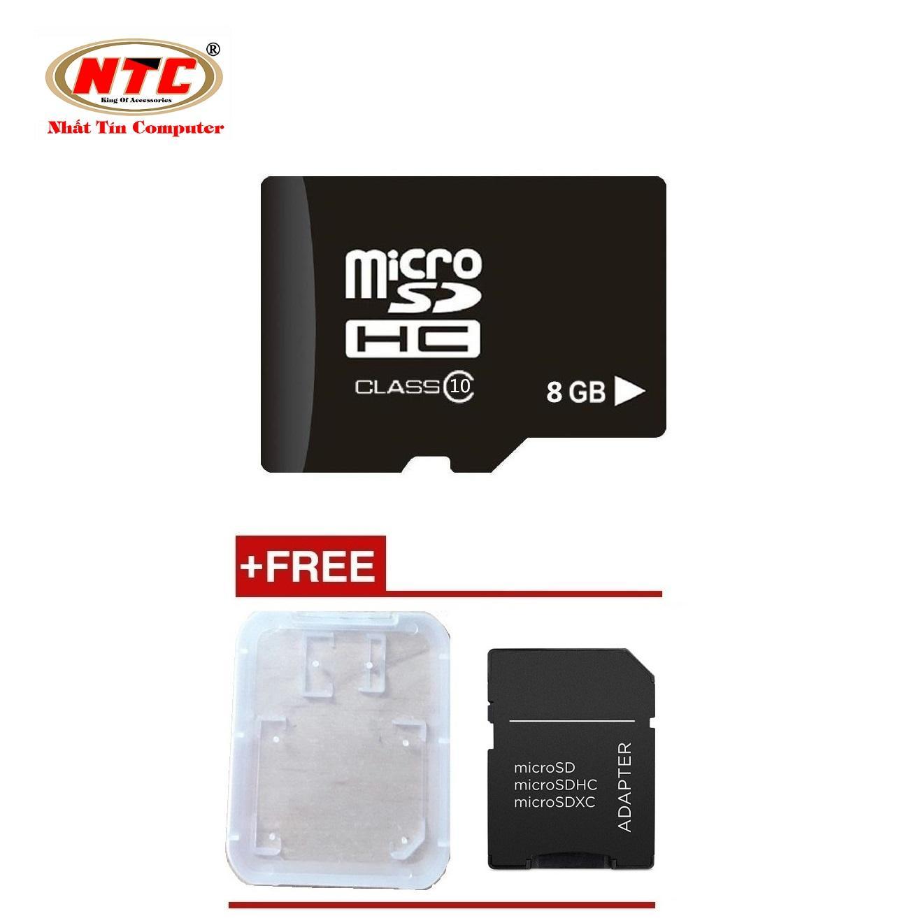 Thẻ nhớ microSDHC NTC 8GB Class 10 (Đen) + Tặng adapter và hộp thẻ