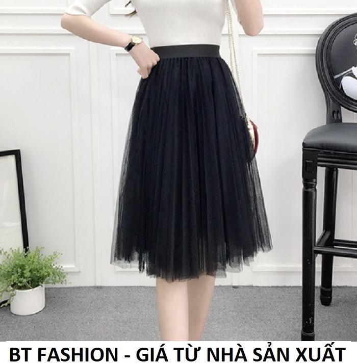 Chân Váy Xòe Dài Duyên Dáng Thời Trang Hàn Quốc - BT Fashion (VA03 - Vải Lưới)