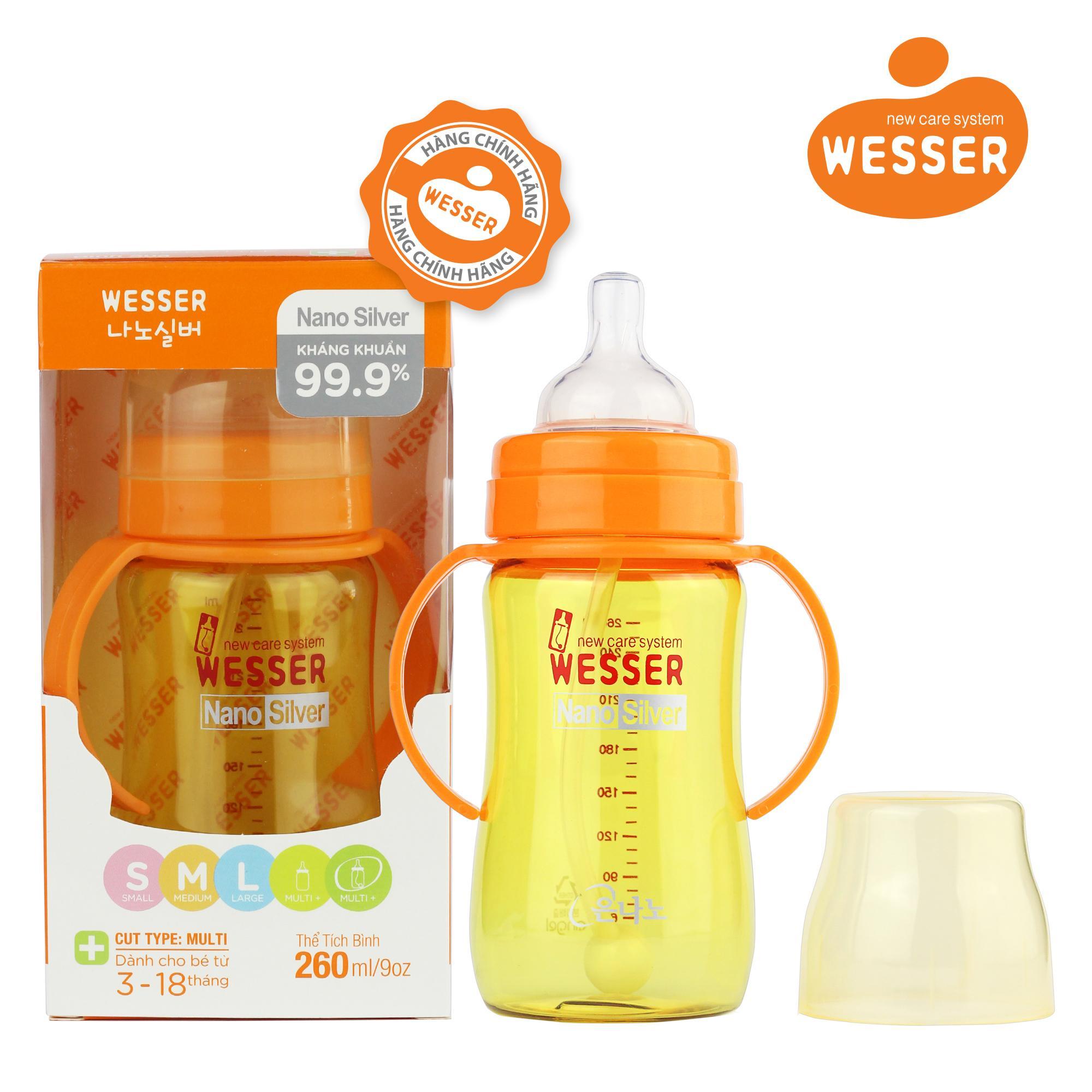 Bình sữa Wesser Nano Silver cổ rộng 260ml + ống...