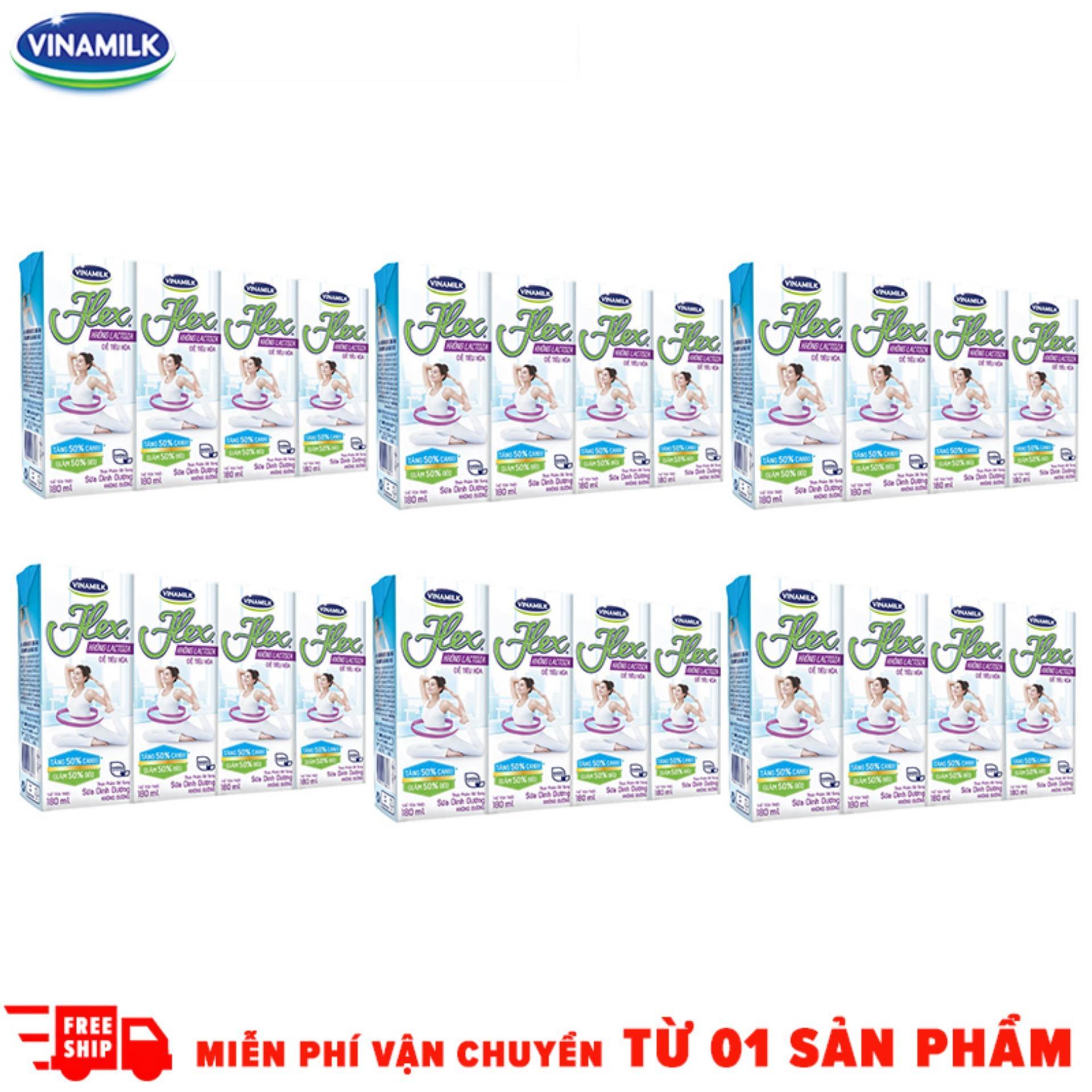Bộ 6 Lốc Sữa tiệt trùng Flex không Lactose 4 hộp x 180ml