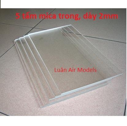 Combo 5 tấm nhựa mica acrylic cứng trong suốt dày 2mm (dài 19.5cm x rộng 14.5cm) chế đồ chơi sáng tạo, thủ công mỹ nghệ (VA130x5 TP) - Luân Air Models