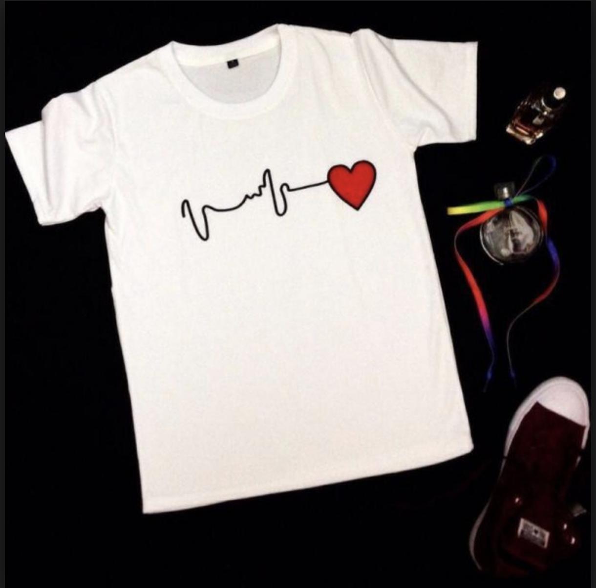 Áo thun nam in hình nhịp tim (Trắng)