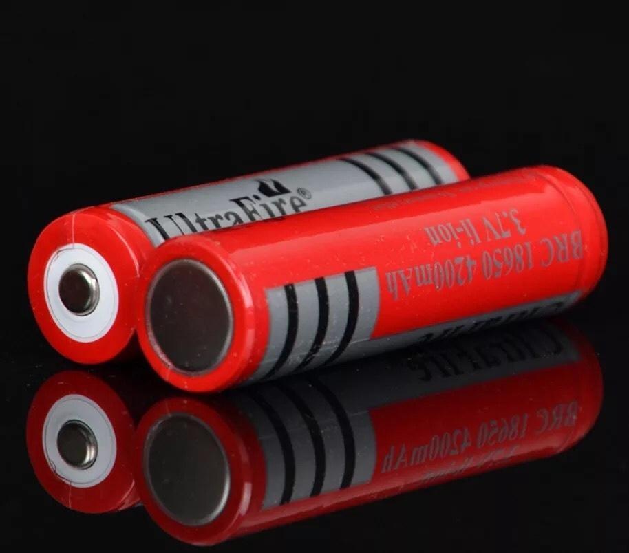 BỘ 2 PIN sạc 3.7V 18650 2200mah màu đỏ