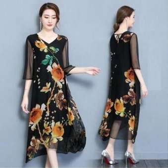 ราคาพิเศษทุกวันใหม่สำหรับฤดูร้อนเสื้อผ้าหญิงแขน 5 ส่วนหลวม MIMZF พิมพ์ลายผ้าไหมสายเดี่ยวชุดผ้าไหมกระโปรงยาว