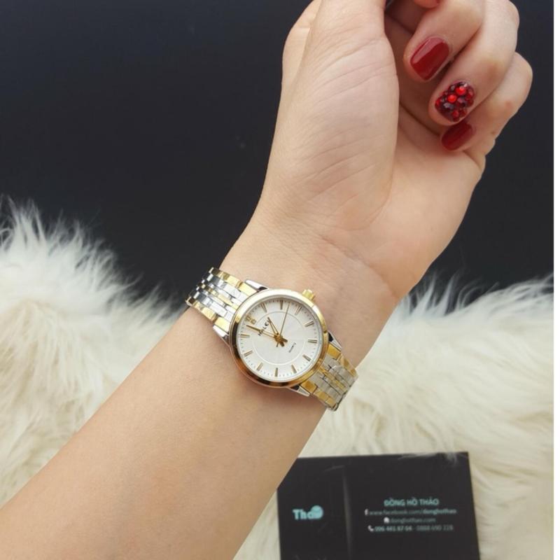 Đồng hồ nữ mạ vàng cao cấp Halei dây demi mặt trắng 552 HL0272