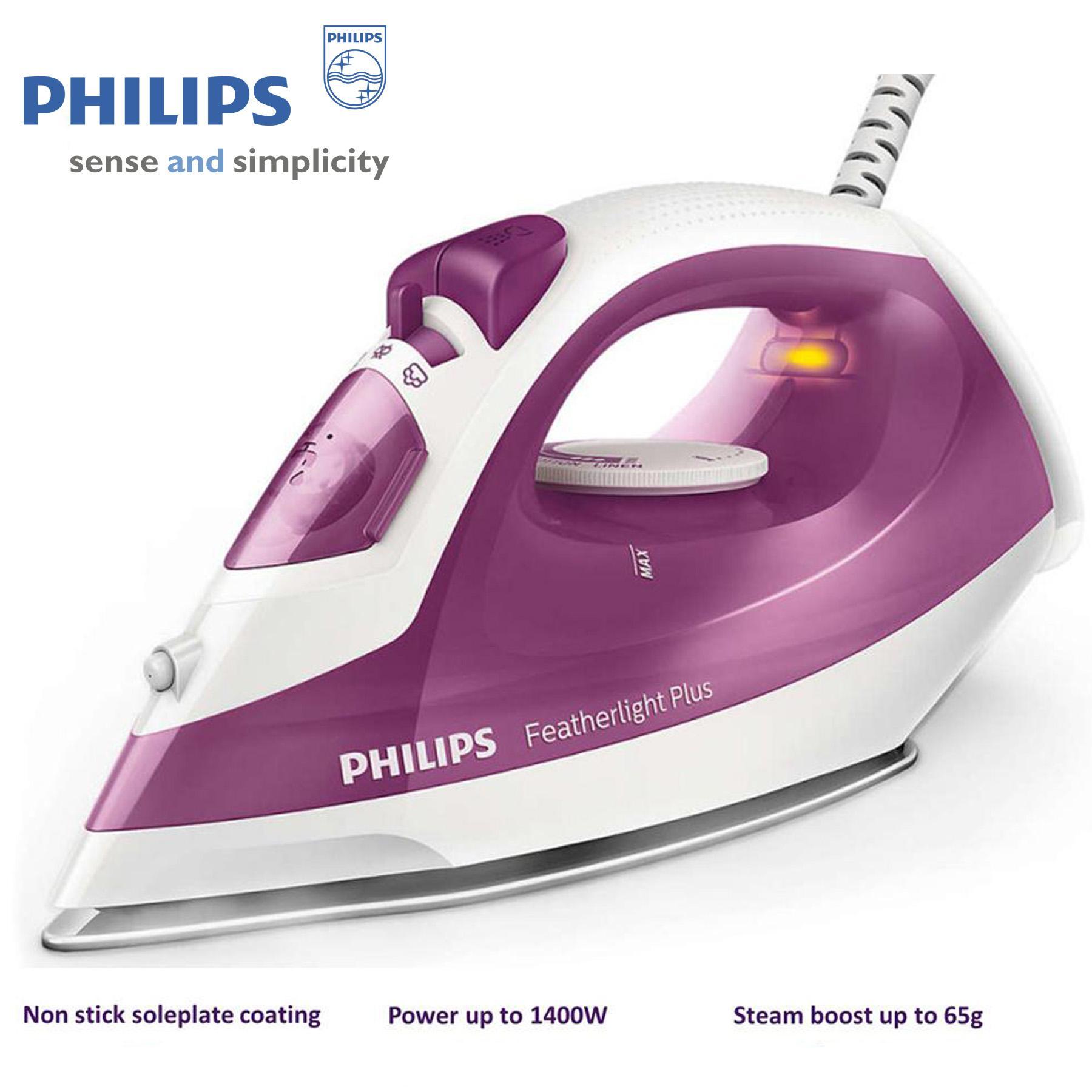 Bàn ủi hơi nước cao cấp Philips GC1426 (Tím),công suất 1400W, Mặt đế chống dính có độ bền cao, Bảo hành 24 tháng- Hàng nhập khẩu