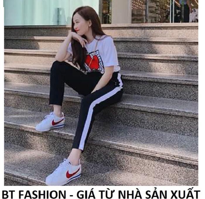 Quần Dài Nữ Thun Phom Rộng Jogger Thể Thao Thời Trang Hàn Quốc - BT Fashion (Sọc Xuông - 07)
