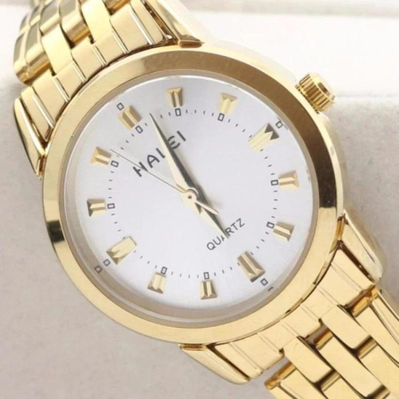 Đồng hồ nữ Halei 501 dây thép mặt trắng chống nước chống xước