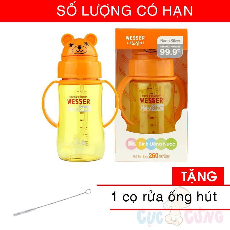 Bình đựng nước có ống hút cho bé uống nước Wesser 260ml hình gấu (260ml) TẶNG 1 CỌ RỬA ỐNG HÚT (số lượng có hạn)
