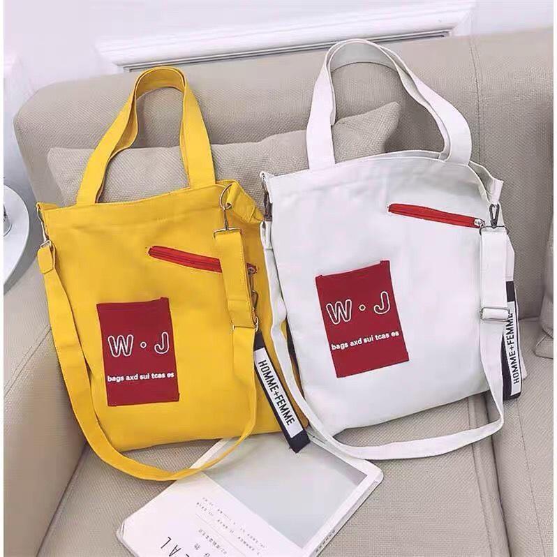 Túi tote canvas đeo vai, đeo chéo thời trang Hàn Quốc -TT06 - WJ The Hills (Nhiều Màu)