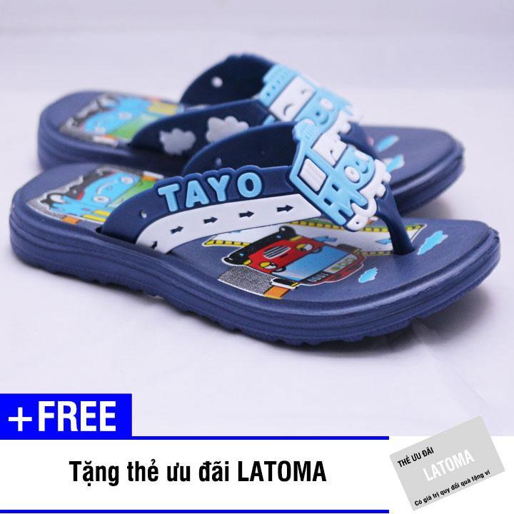 Dép xỏ ngón bé trai TAYO cao cấp Latoma TA1214 (Xanh Đen)+ Tặng kèm thẻ ưu đãi Latoma