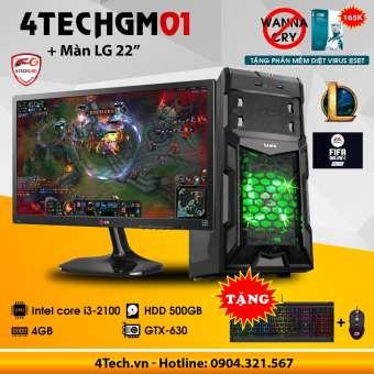 máy tính chơi game 4techgm01 core i3, ram 4gb, hdd 500gb, vga gt730, màn 22inch(chuyên lol, fifa) - tặng phím chuột gaming dareu.