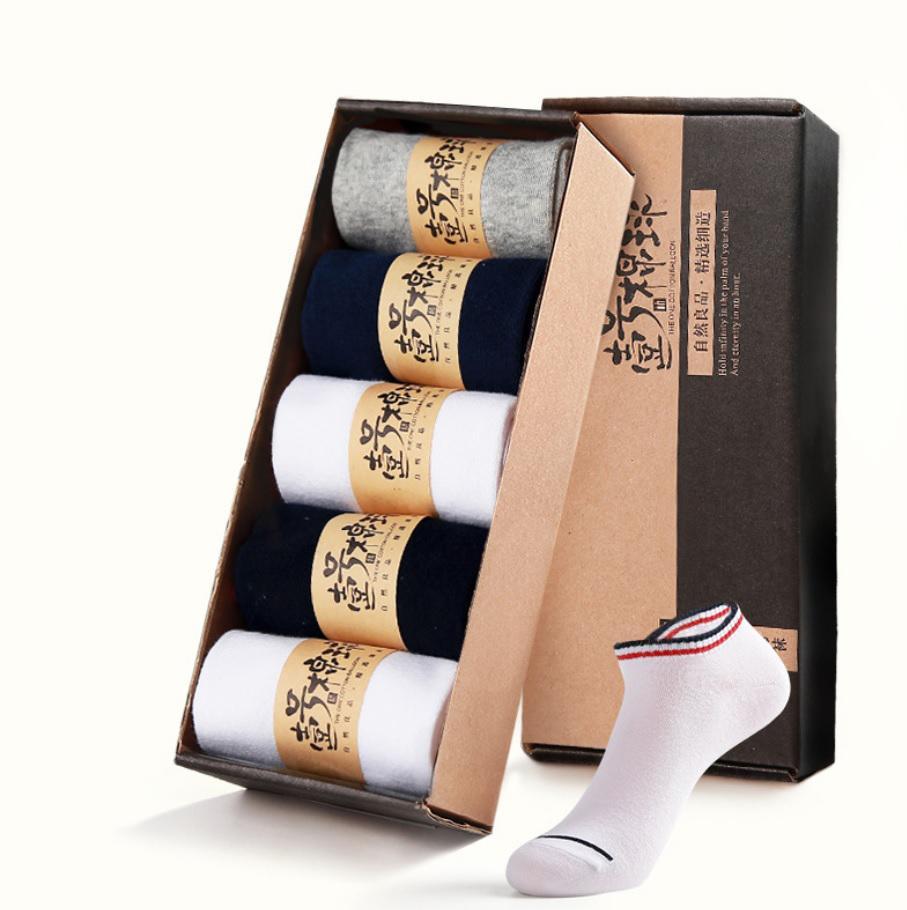 Bộ 5 đôi vớ nm cotton 2 sọc cổ thấp Vớ Store (5 màu) - A019