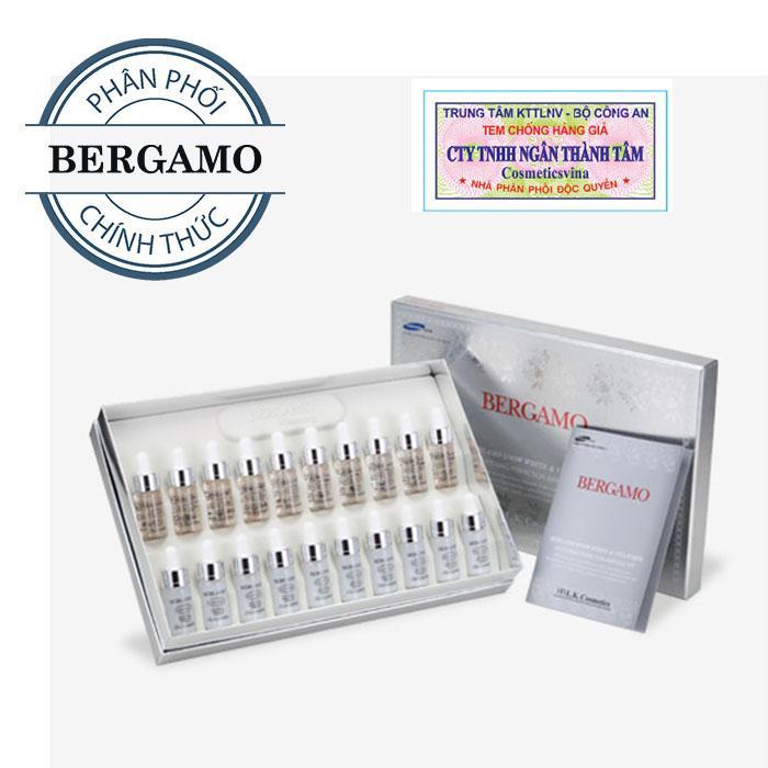 Set 20 Siêu Tinh Chất Dưỡng Trắng Bergamo Snow White Vita-White Whitening Perfection Ampoule 20 Lọ