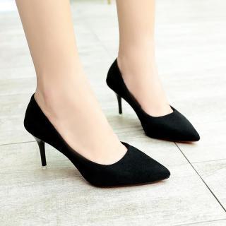 Giày Cao Gót Mũi Nhọn Gót Nhọn Dễ Phối Giày Một Lớp Giày Làm Việc Màu Đen Thon Gọn Cho Nữ Giày Nữ Gót Một Lớp Gót Cao Vừa Mặt Nhung Giày Cỡ Lớn thumbnail