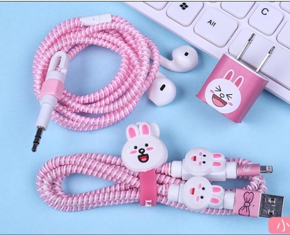 Bộ dây quấn bảo vệ dây sạc tai nghe IPhone dễ thương
