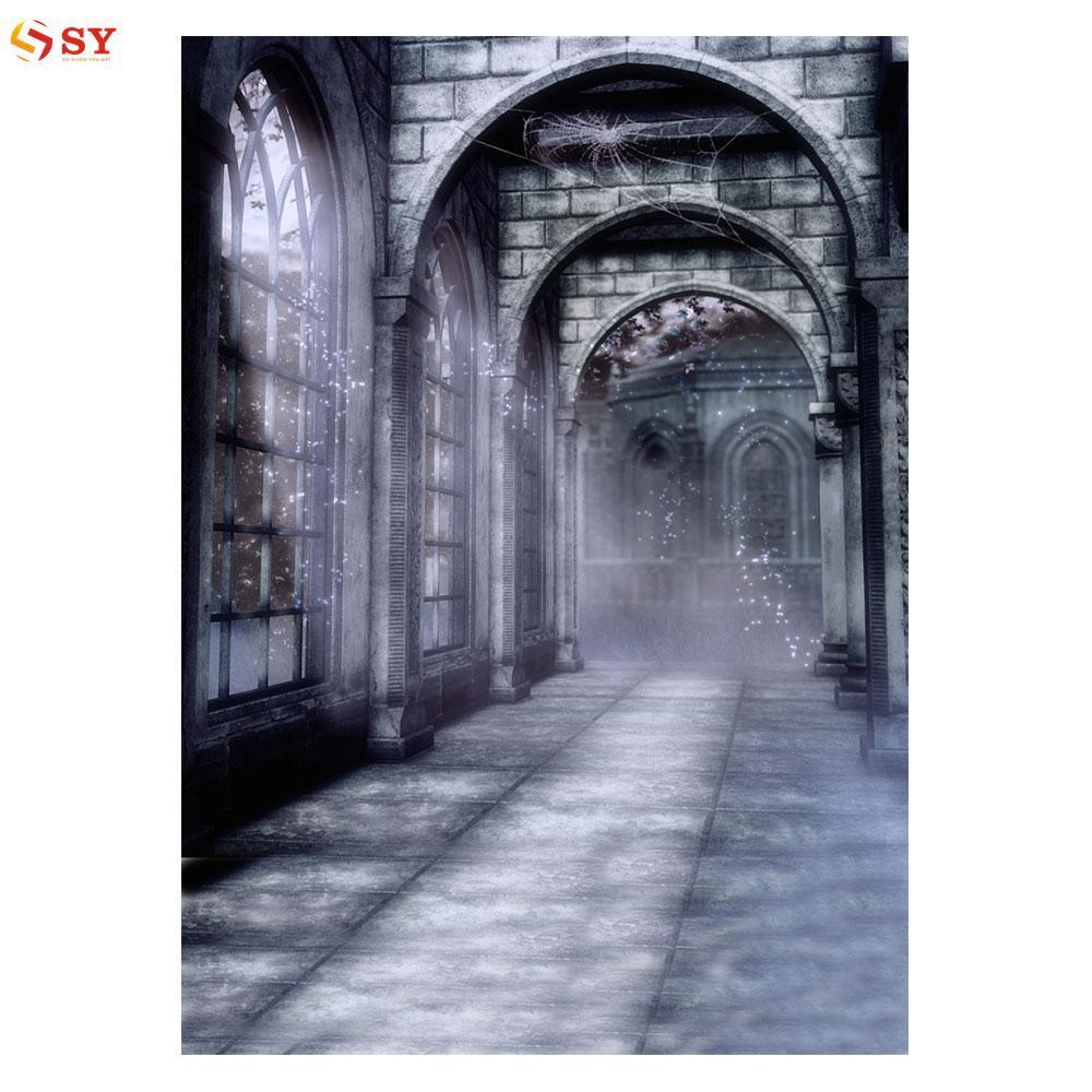 So Young Photography Backdrop Photo Background Vintage Old Castle Night Corridor 3x5FT Photo Studio Graduation - intl