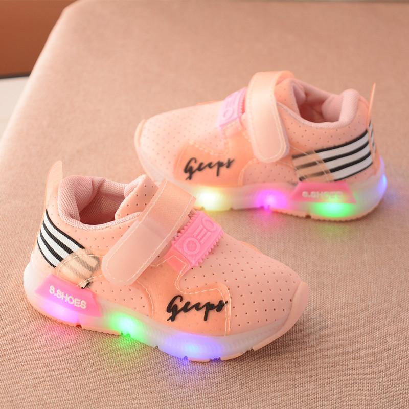 Giày thể thao Gupy cho bé trai và bé gái có đèn led màu hồng- Size 21 đến 30 - V27 (kèm ảnh thật full hộp)