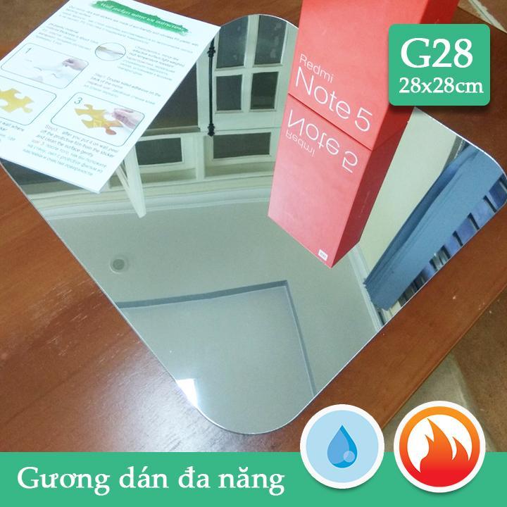 Gương dán nhà tắm,tủ gỗ CN dầy 1mm soi nét căng G28 28x28cm
